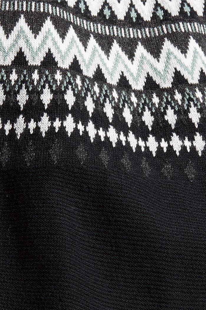 Jersey noruego en mezcla de algodón ecológico, BLACK, detail image number 4