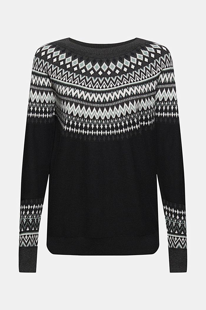 Sweter z norweskim wzorem z mieszanki materiałów z bawełną ekologiczną