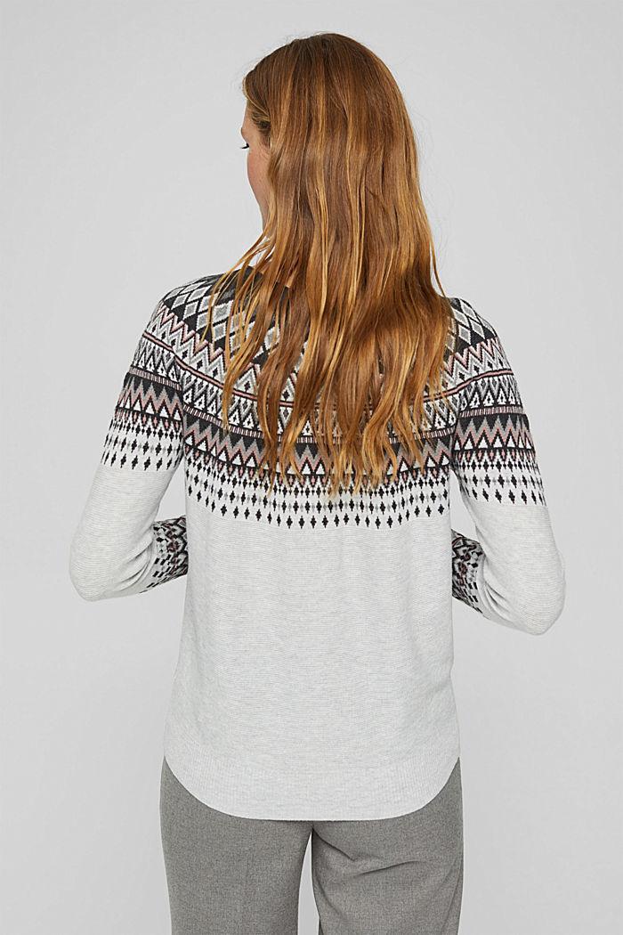 Norweger-Pullover aus Bio-Baumwoll-Mix, LIGHT GREY, detail image number 3