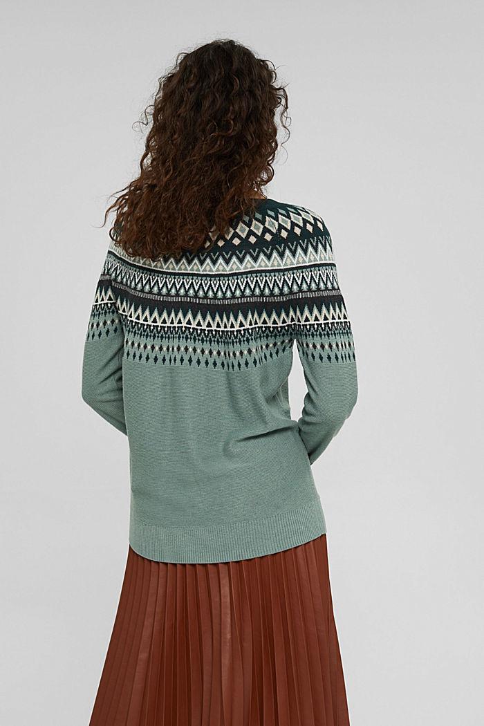 Norweger-Pullover aus Bio-Baumwoll-Mix, DUSTY GREEN, detail image number 3