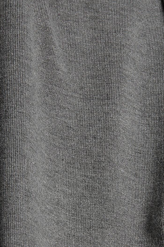 Rollkragenpullover aus Feinstrick, GUNMETAL, detail image number 4