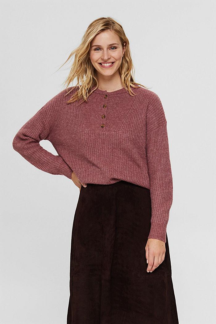 Mit Wolle/Alpaka: Pullover mit Knopfleiste
