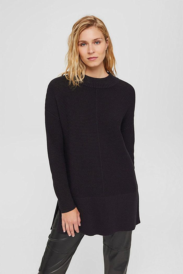 Mit Kaschmir: langer Pullover mit Schlitzen, BLACK, detail image number 0