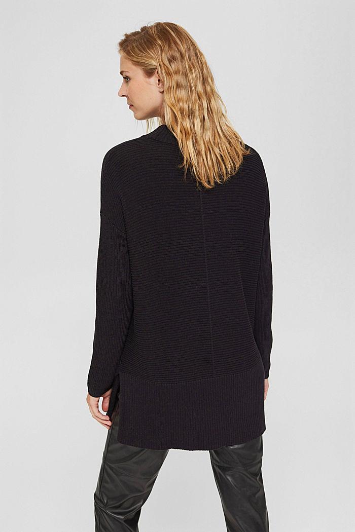 Mit Kaschmir: langer Pullover mit Schlitzen, BLACK, detail image number 3