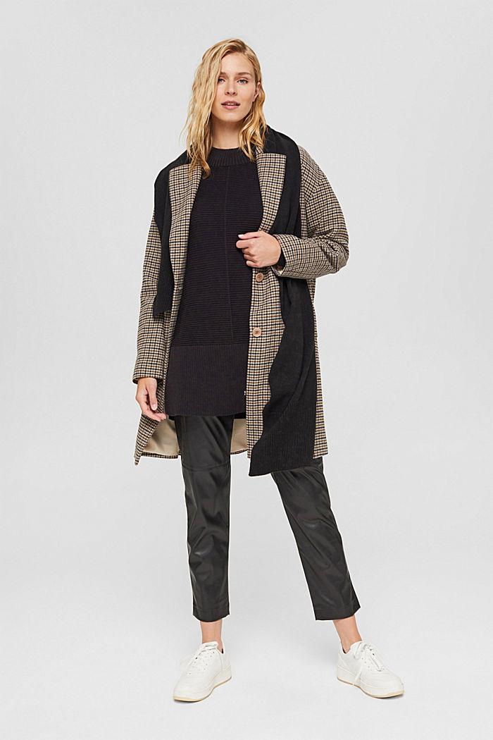 Mit Kaschmir: langer Pullover mit Schlitzen, BLACK, detail image number 1