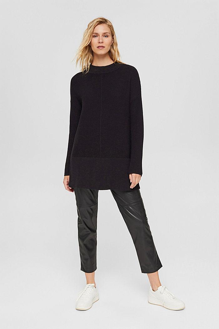 Mit Kaschmir: langer Pullover mit Schlitzen, BLACK, detail image number 5