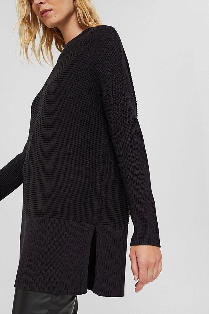 Mit Kaschmir: langer Pullover mit Schlitzen, BLACK, detail image number 2