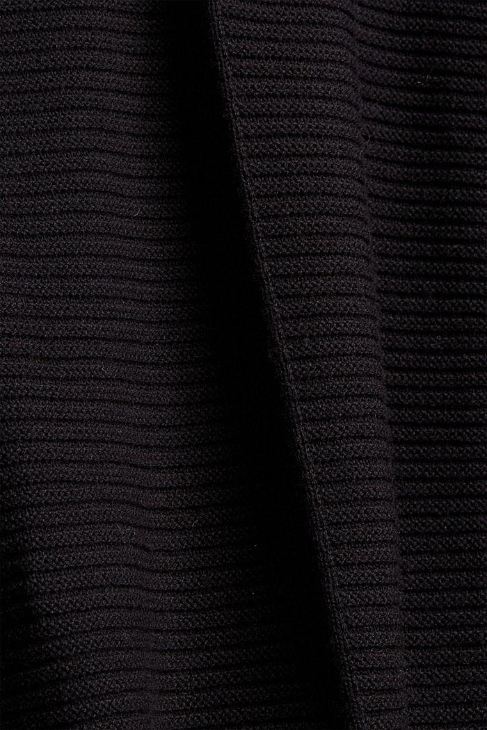 Mit Kaschmir: langer Pullover mit Schlitzen, BLACK, detail image number 4