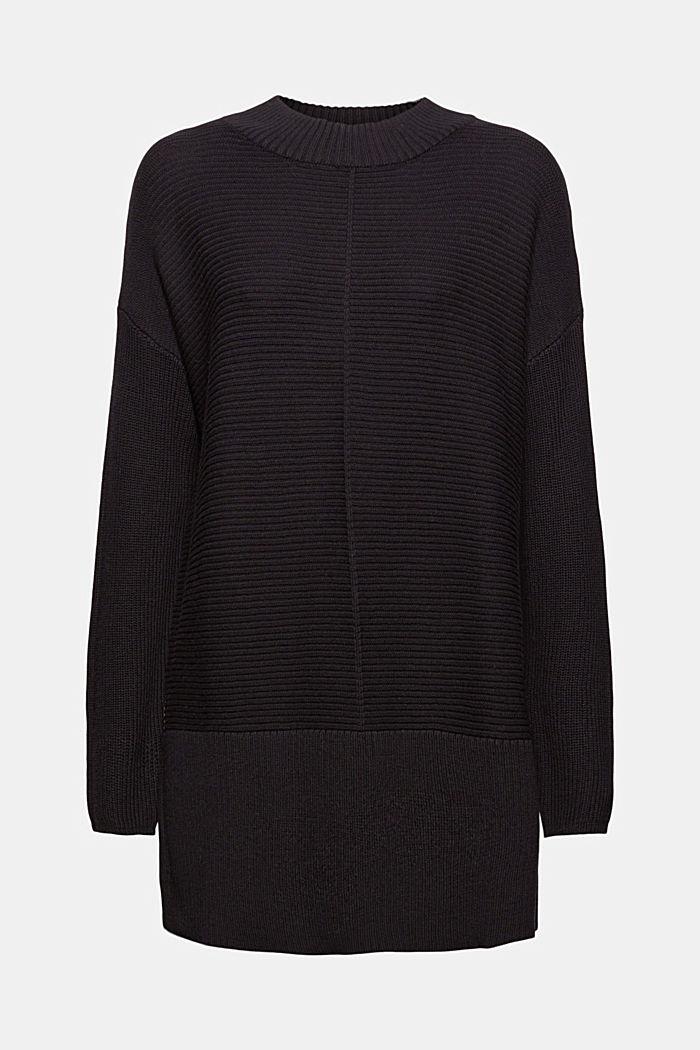 Mit Kaschmir: langer Pullover mit Schlitzen, BLACK, detail image number 6