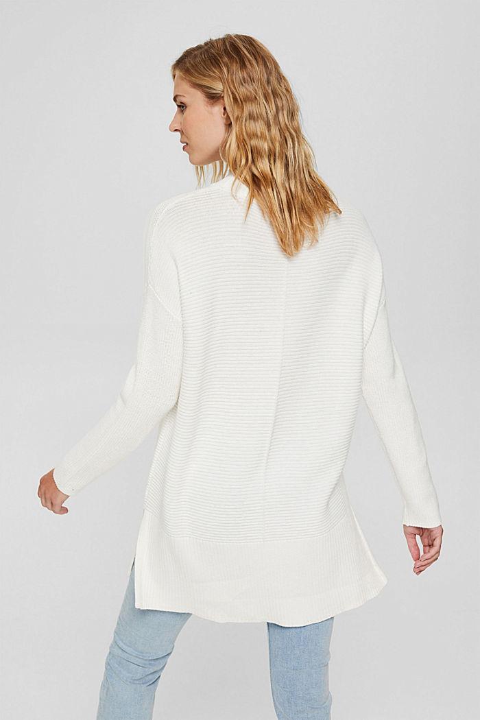 Mit Kaschmir: langer Pullover mit Schlitzen, OFF WHITE, detail image number 3