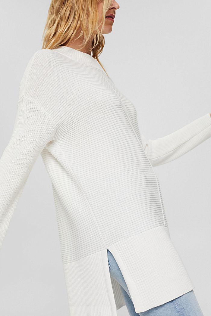 Mit Kaschmir: langer Pullover mit Schlitzen, OFF WHITE, detail image number 2