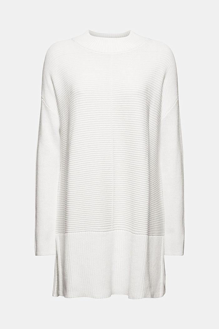 Mit Kaschmir: langer Pullover mit Schlitzen, OFF WHITE, detail image number 5