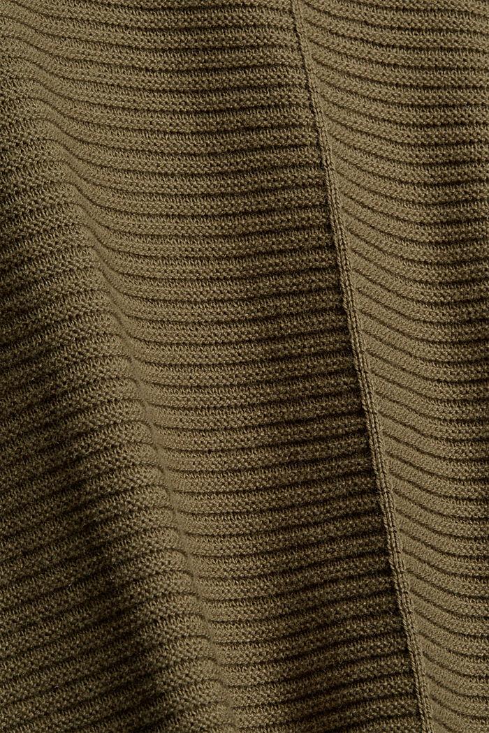Mit Kaschmir: langer Pullover mit Schlitzen, DARK KHAKI, detail image number 4