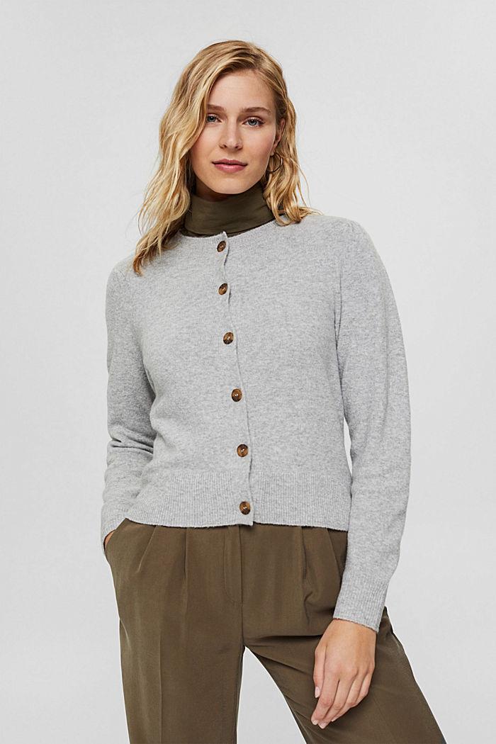 Met wol: vest met gerimpelde mouwen, LIGHT GREY, detail image number 0