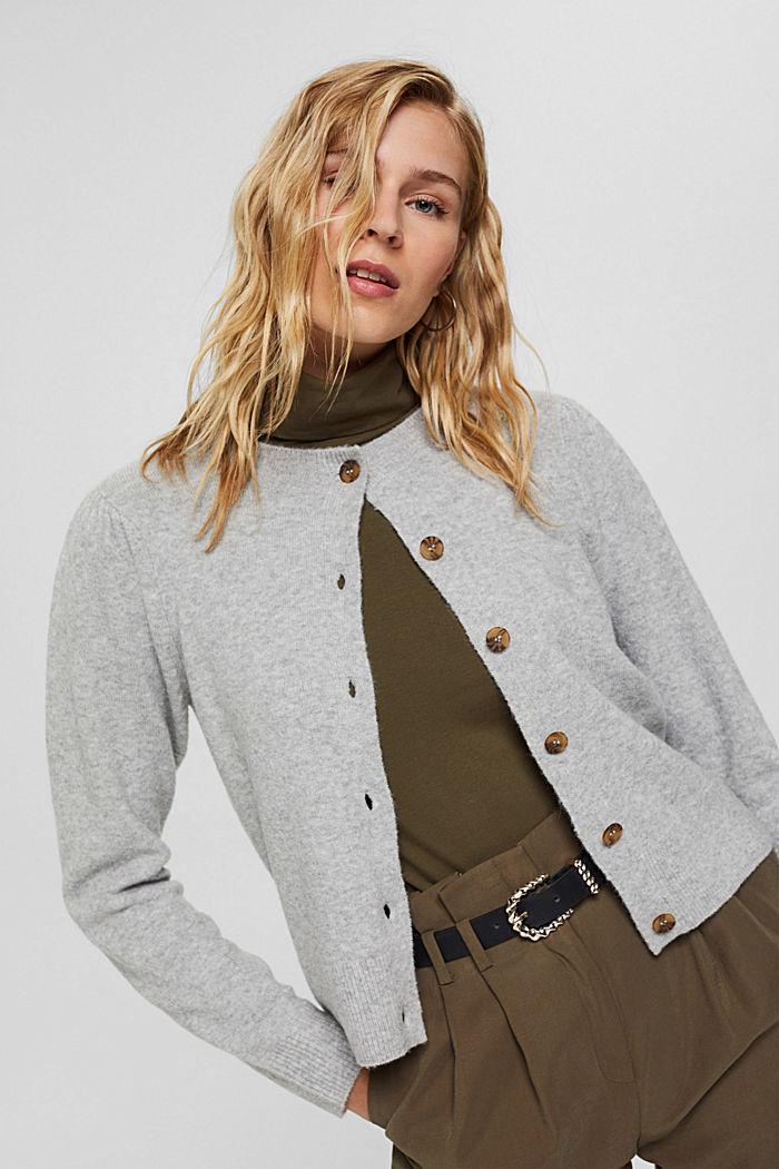 Met wol: vest met gerimpelde mouwen, LIGHT GREY, detail image number 5