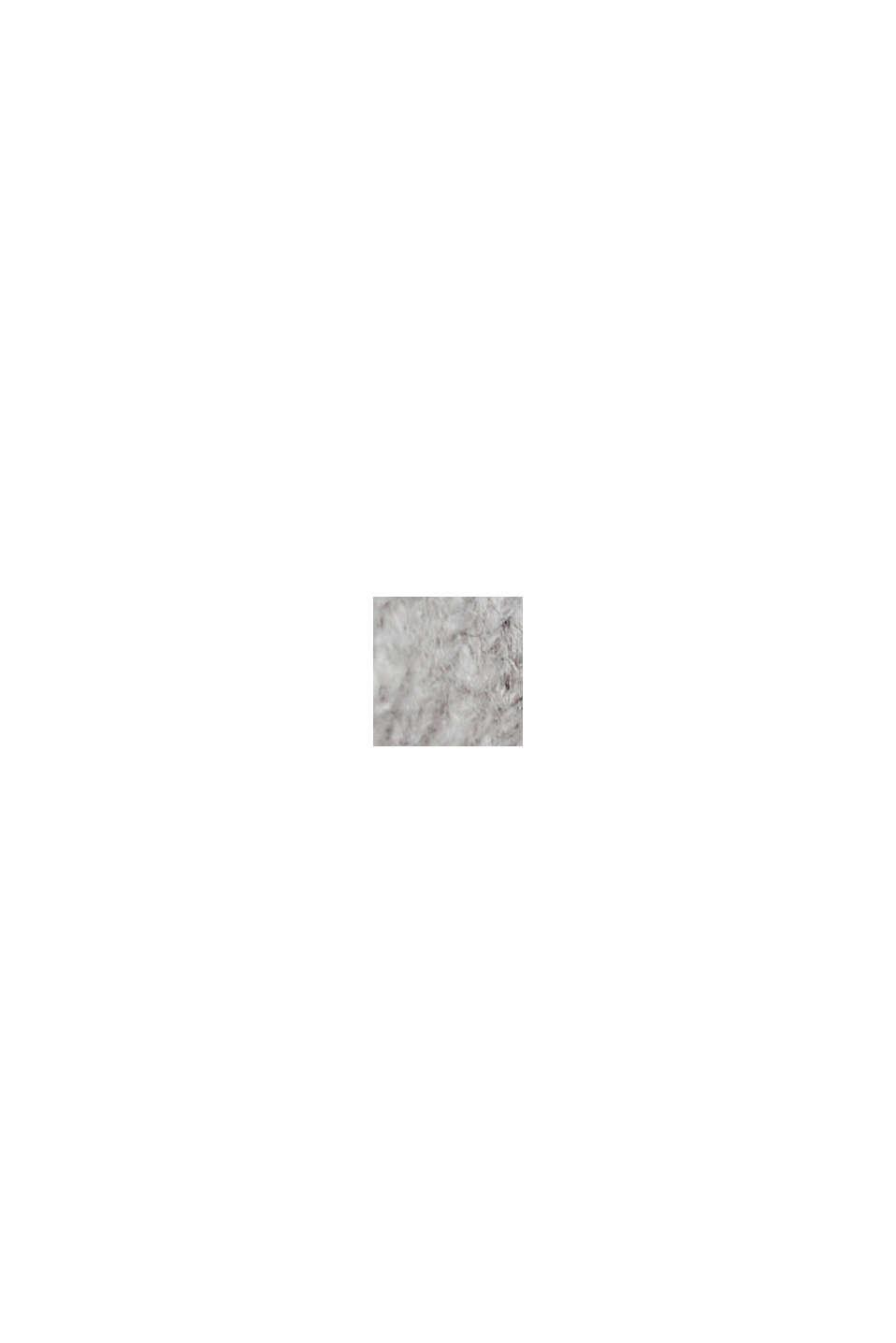 Mit Wolle: Cardigan mit gerafften Ärmeln, LIGHT GREY, swatch