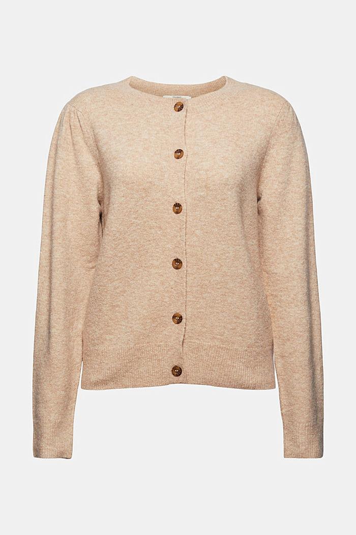 Met wol: vest met gerimpelde mouwen, SAND, detail image number 6