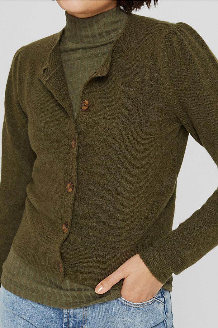 Met wol: vest met gerimpelde mouwen, DARK KHAKI, detail image number 2