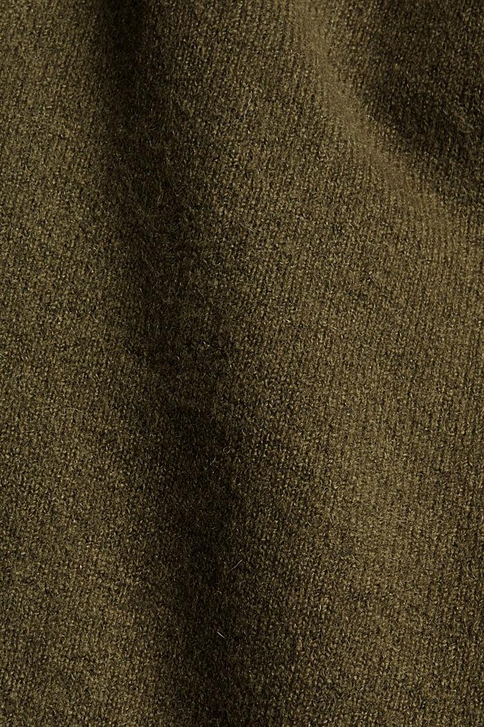 Met wol: vest met gerimpelde mouwen, DARK KHAKI, detail image number 4