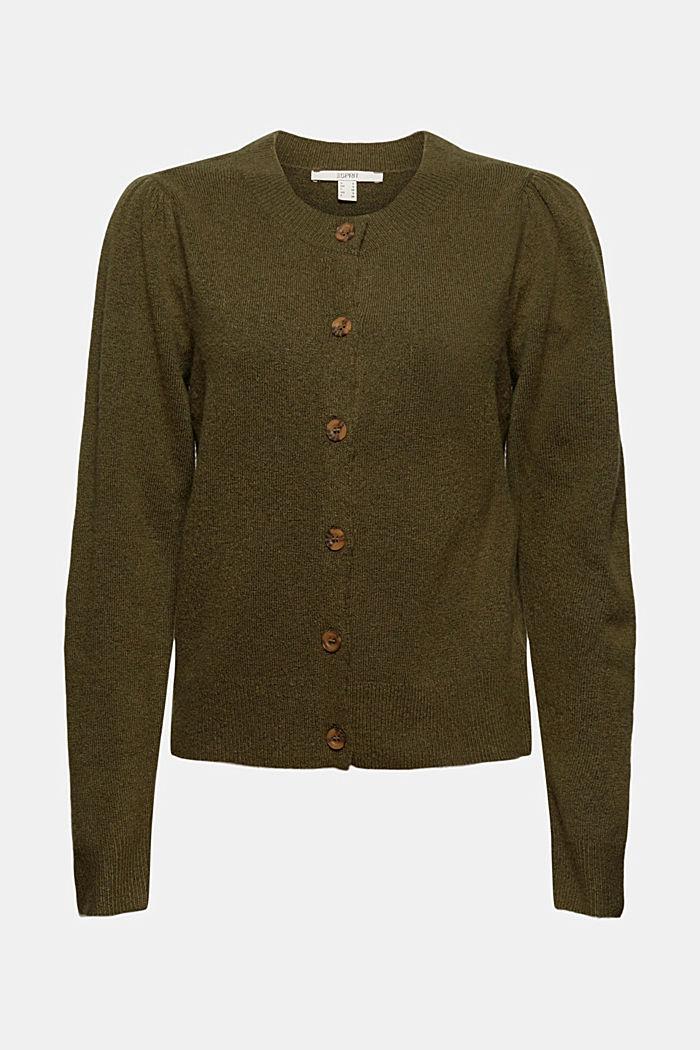 Mit Wolle: Cardigan mit gerafften Ärmeln