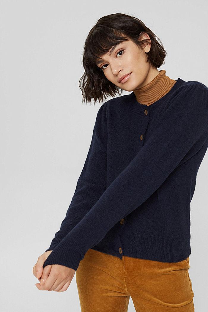 Mit Wolle: Cardigan mit gerafften Ärmeln, NAVY, detail image number 0