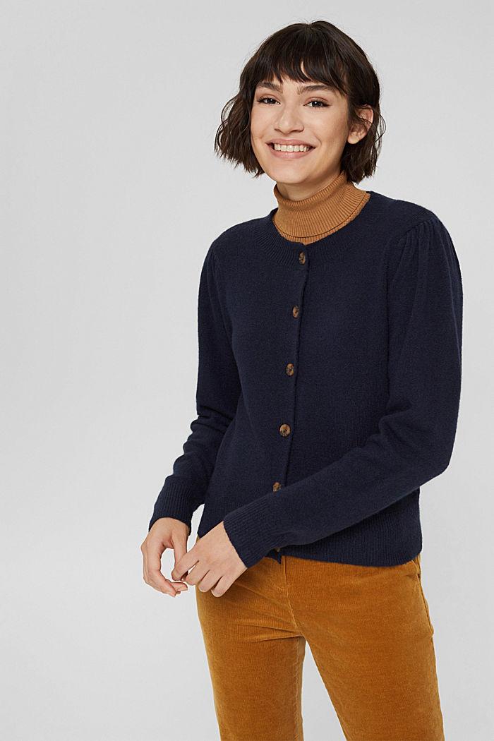 Mit Wolle: Cardigan mit gerafften Ärmeln, NAVY, detail image number 5
