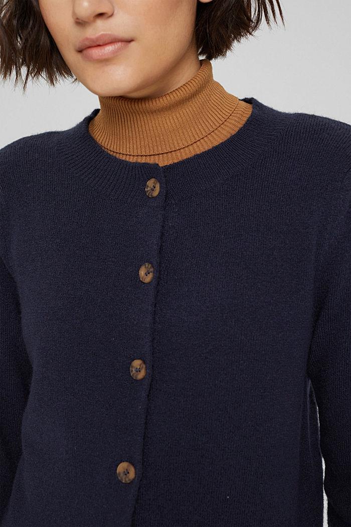 Mit Wolle: Cardigan mit gerafften Ärmeln, NAVY, detail image number 2