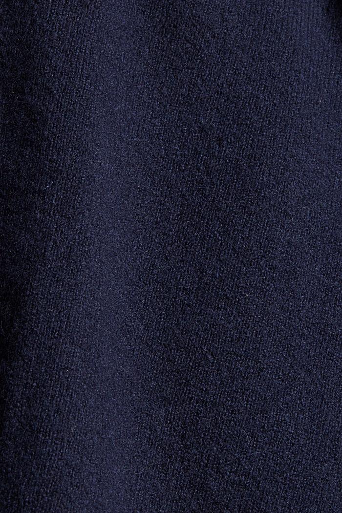 Mit Wolle: Cardigan mit gerafften Ärmeln, NAVY, detail image number 4
