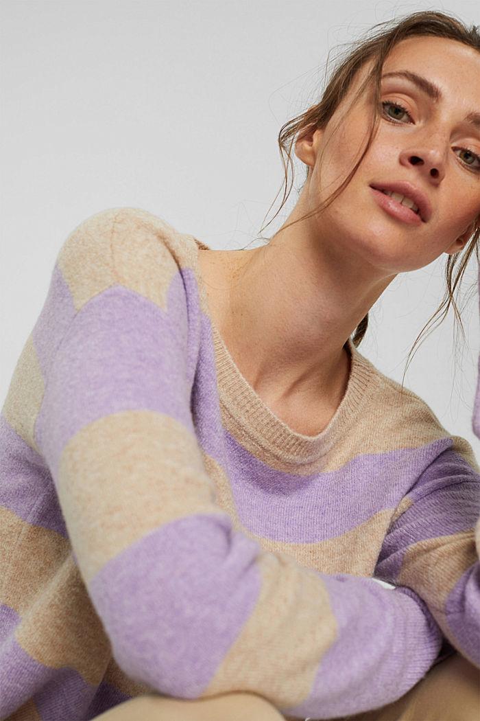 À teneur en laine: le pull-over à larges rayures