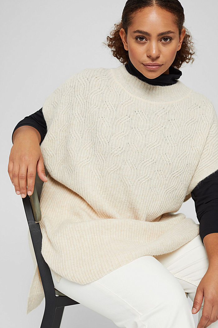 CURVY textured sleeveless jumper with wool