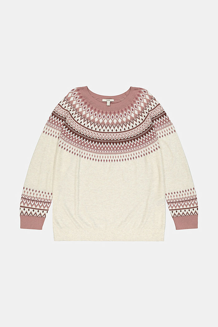 CURVY jacquard jumper made of blended organic cotton