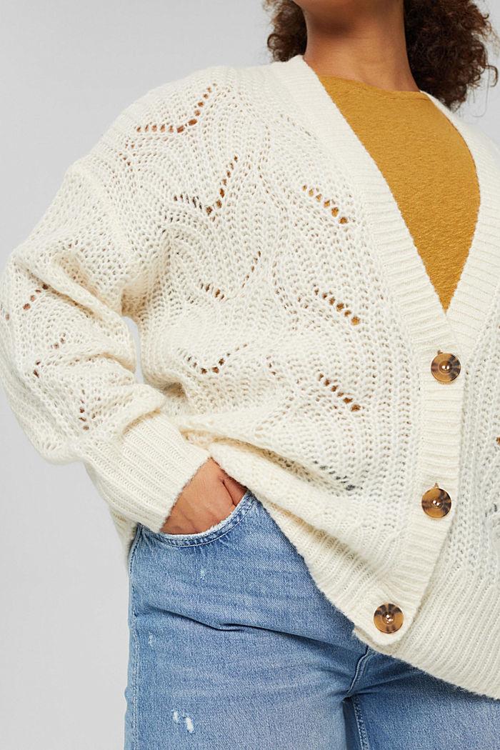CURVY Pointelle Cardigan mit Wolle/Alpaka, ICE, detail image number 2