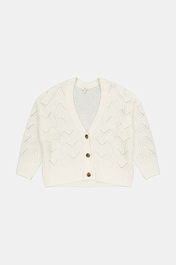 CURVY Pointelle Cardigan mit Wolle/Alpaka, ICE, detail image number 5
