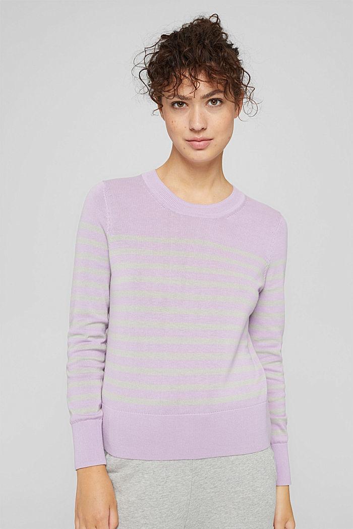 Gestreifter Pullover aus 100% Baumwolle, LILAC, detail image number 0