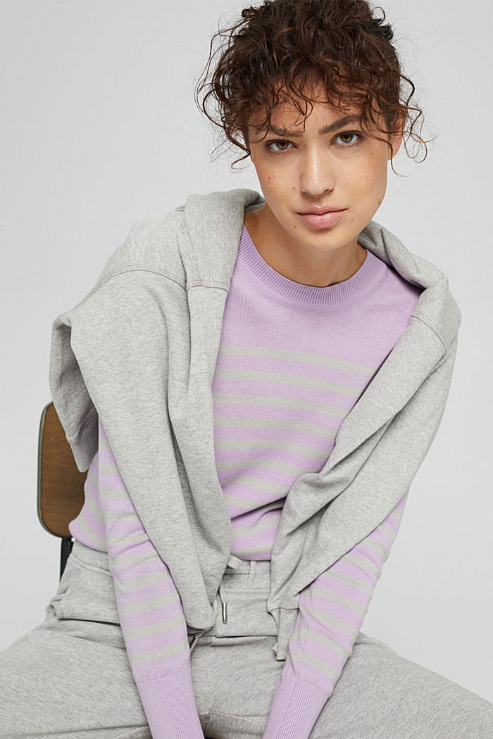 Gestreifter Pullover aus 100% Baumwolle, LILAC, detail image number 6