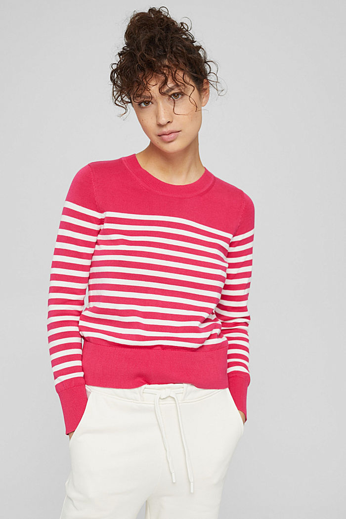 Striped jumper in 100% cotton, PINK FUCHSIA, detail image number 0