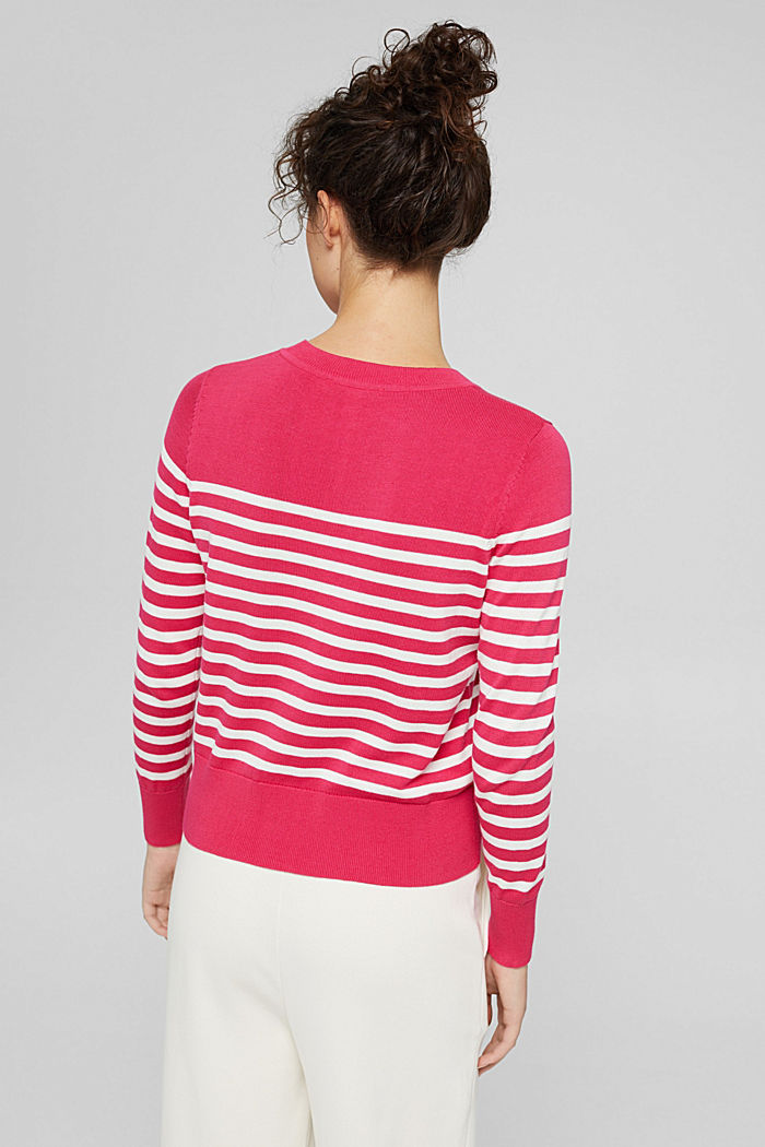 Striped jumper in 100% cotton, PINK FUCHSIA, detail image number 3