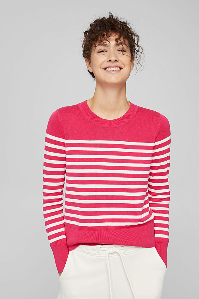 Striped jumper in 100% cotton, PINK FUCHSIA, detail image number 5