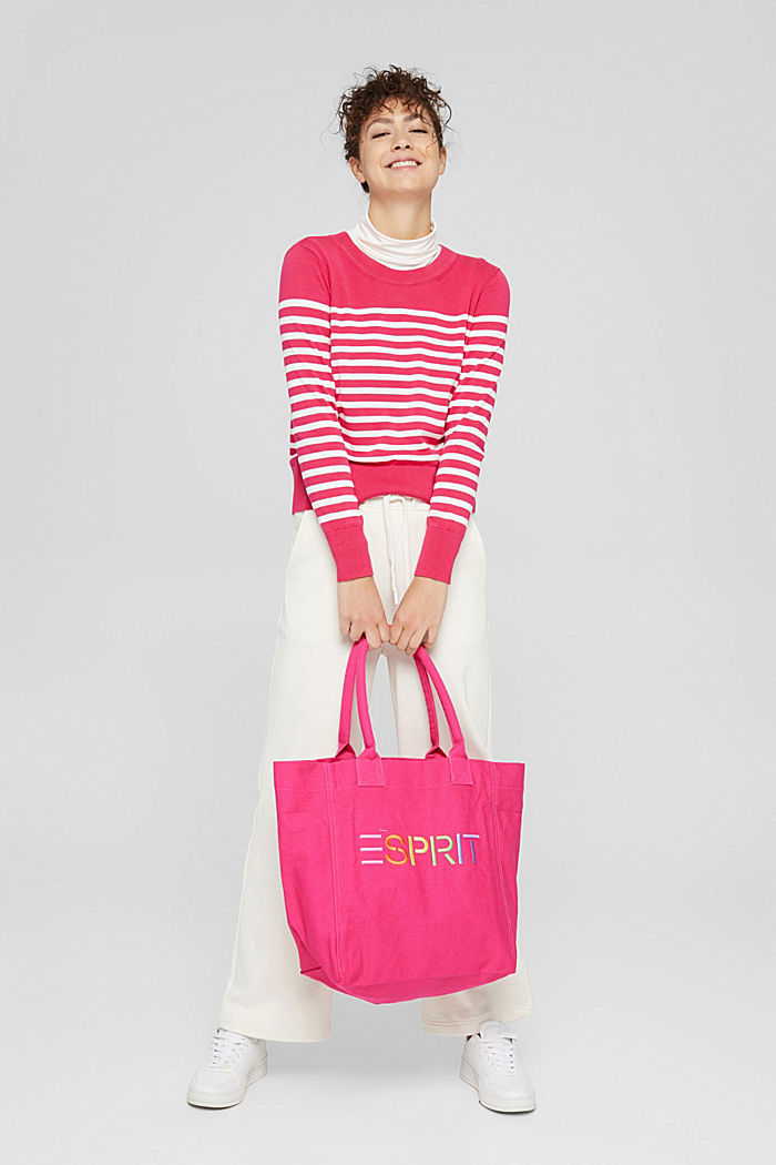 Striped jumper in 100% cotton, PINK FUCHSIA, detail image number 1