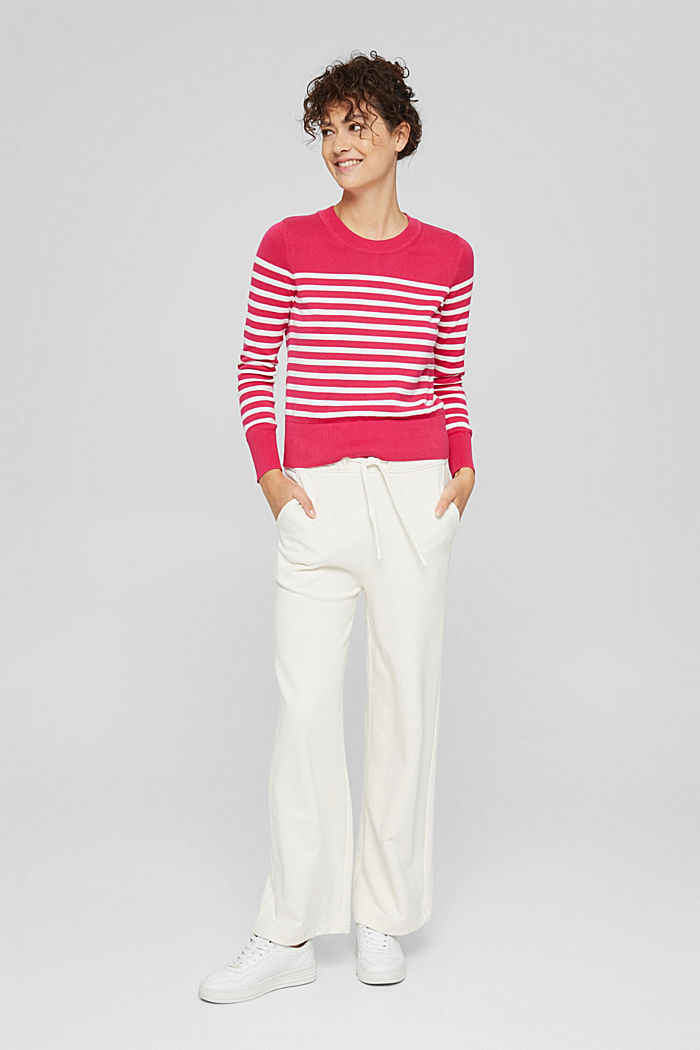 Striped jumper in 100% cotton, PINK FUCHSIA, detail image number 6