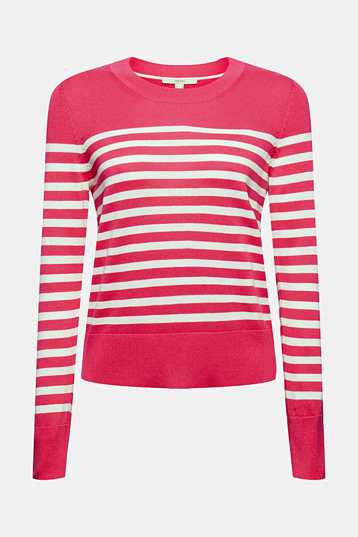 Striped jumper in 100% cotton, PINK FUCHSIA, detail image number 7