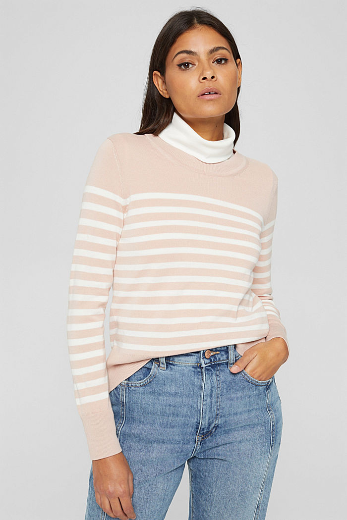 Striped jumper in 100% cotton, PASTEL PINK, detail image number 0