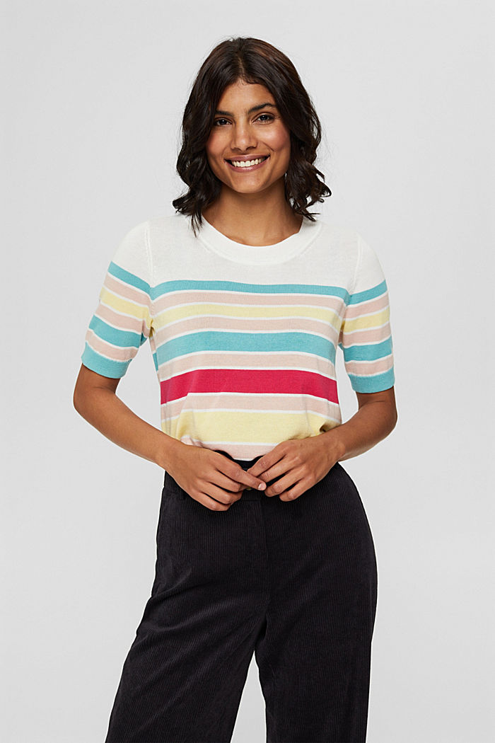 Short-sleeved jumper with multi-coloured stripes, OFF WHITE, detail image number 0