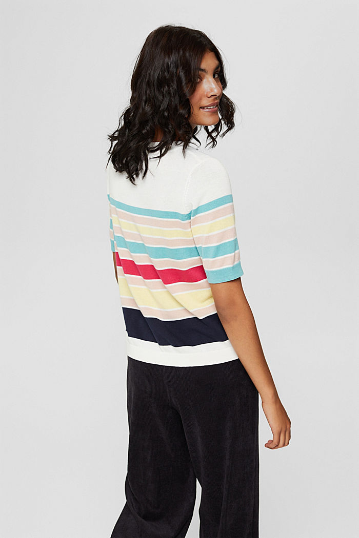 Short-sleeved jumper with multi-coloured stripes, OFF WHITE, detail image number 3