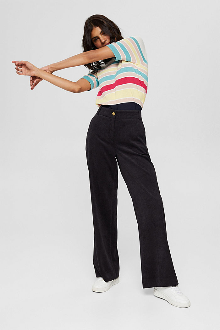 Short-sleeved jumper with multi-coloured stripes, OFF WHITE, detail image number 1