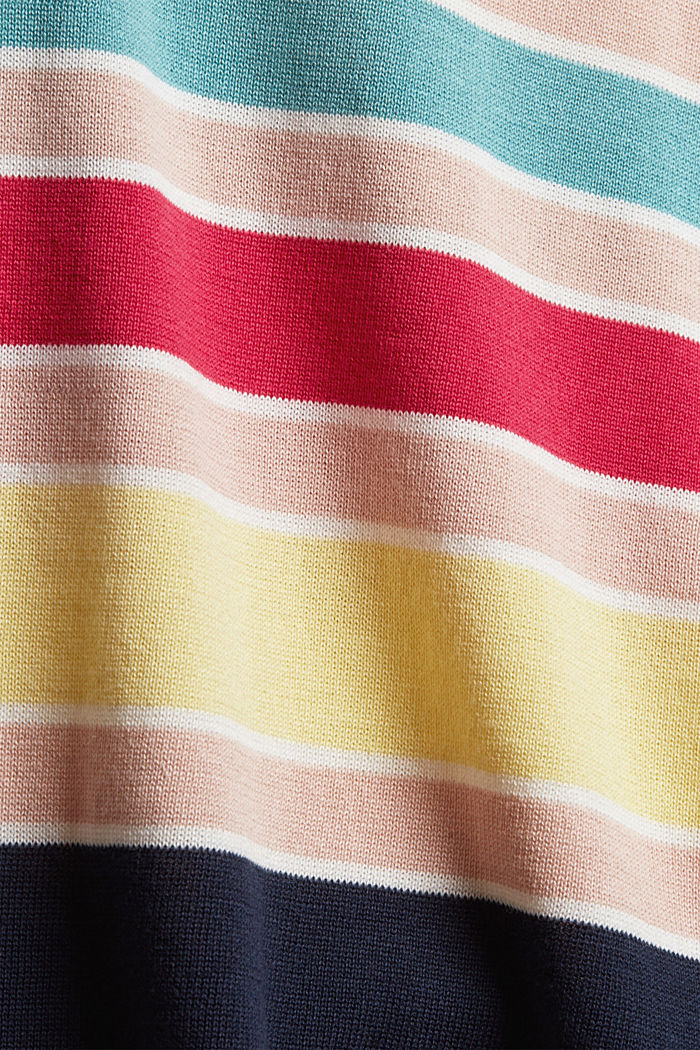 Short-sleeved jumper with multi-coloured stripes, OFF WHITE, detail image number 4