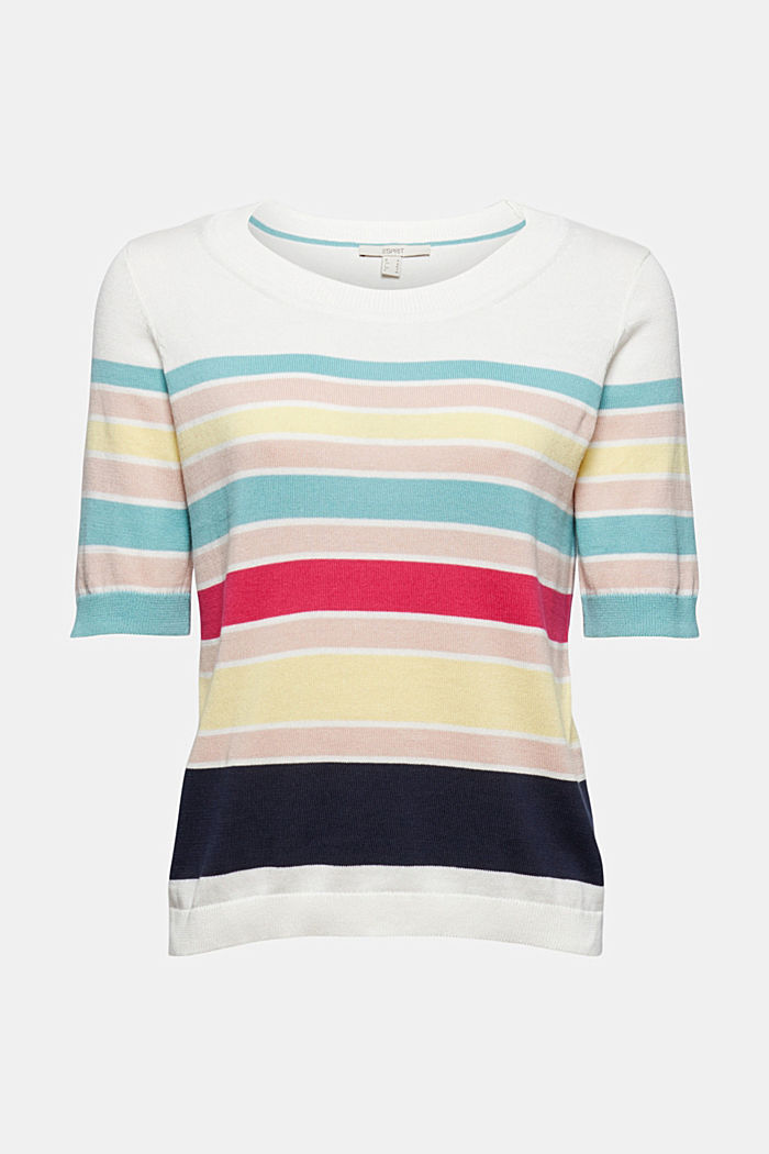 Pull-over à manches courtes à rayures multicolores