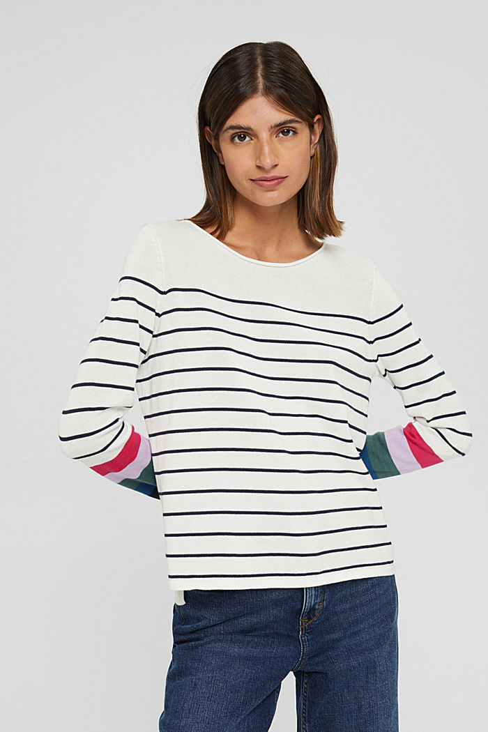 Striped jumper in 100% cotton, NEW OFF WHITE, detail image number 0