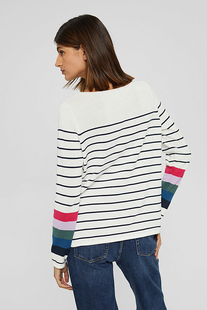 Striped jumper in 100% cotton, NEW OFF WHITE, detail image number 3