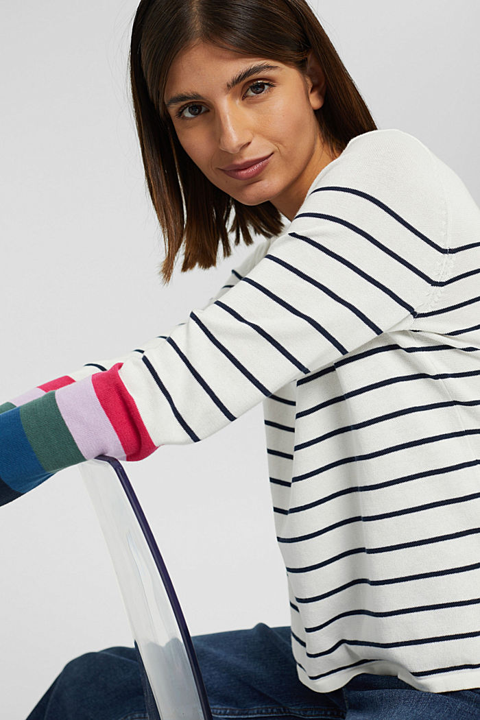 Striped jumper in 100% cotton, NEW OFF WHITE, detail image number 5